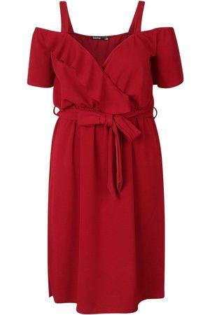 Boohoo Plus Plunge Ruffle Belt Midi Dress