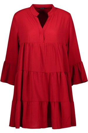 Boohoo Woven Tiered Shirt Dress