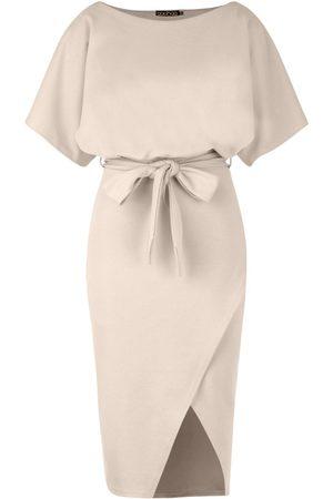 Boohoo Slash Neck Tie Waist Midi Dress