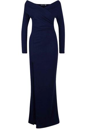 Boohoo Off The Shoulder Split Maxi Bridesmaid Dress