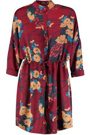 Boohoo Floral Print Luxe Shirt Dress