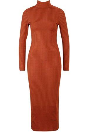 Boohoo Jumbo Rib Roll Neck Midi Dress