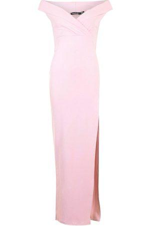Boohoo Wrap Off The Shoulder Maxi Bridesmaid Dress