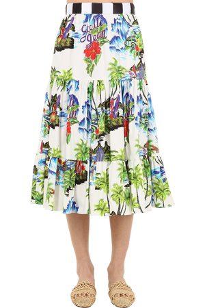 Stella Jean Dame Midiskjørt - Printed Cotton Midi Skirt
