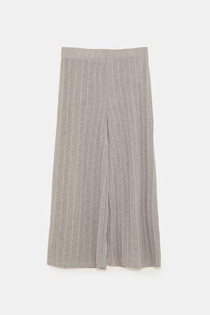 Zara Dame Culotte bukser - Ribbestrikket culottebukse