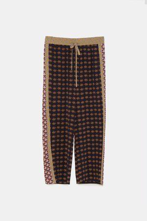 Zara Dame Culotte bukser - Kombinert culottebukse med geometrisk mønster