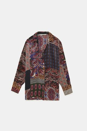 Zara PATCHWORK PRINT SHIRT