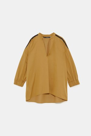 Zara Poplinskjorte med innfelling