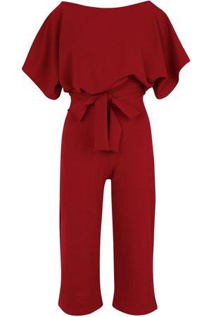 Boohoo Slash Neck Tie Waist Culotte Jumpsuit