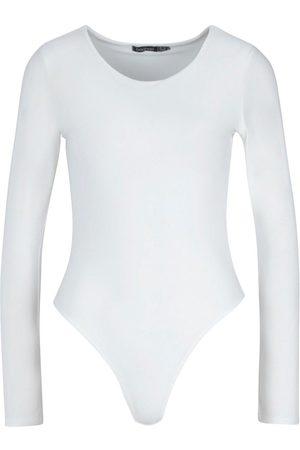 Boohoo Slinky Double Layer Plunge Long Sleeve Bodysuit