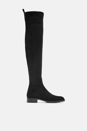 Zara Dame Høye støvletter - Flat over-knee støvel