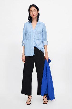 Zara Dame Denim - Jeansskjorte med lommer