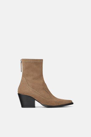 Zara Dame Cowboy boots - Høyhælt semsket cowboystøvlett