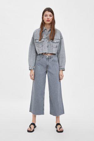 Zara Dame Culotte bukser - Culottebukse i denim med normalt liv