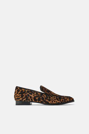 Zara Dame Loafers - Mokasin i skinn med dyremønster
