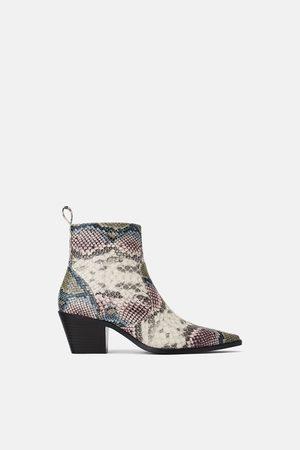 Zara Dame Cowboy boots - Høyhælt cowboystøvlett med dyremønster