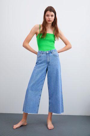 Zara Culottebukse i denim med normalt liv