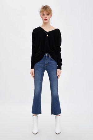 Zara Dame Jeans - Cropped denimbukse med normalt liv og sleng