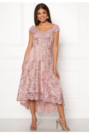 Goddiva Embroidered Lace Dress Blush S (UK10)