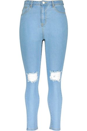 Boohoo Plus High Waist Distressed Skinny Jean