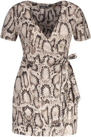 Boohoo Petite Animal Print Woven Wrap Dress