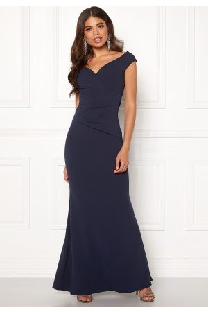 Goddiva Bardot Pleat Maxi Dres Royal Blue L (UK14)
