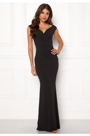 Goddiva Bardot Pleat Maxi Dres Black XS (UK8)