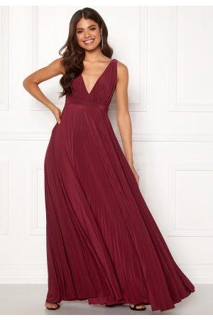 Goddiva Pleated Oscar Dress Wine M/L