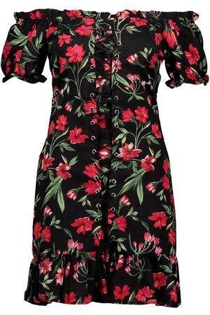 Boohoo Floral Chiffon Off The Shoulder Mini Dress