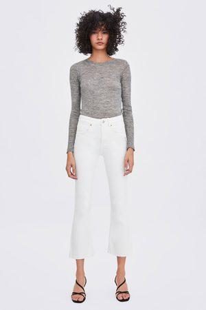Zara Cropped denimbukse med normalt liv og sleng