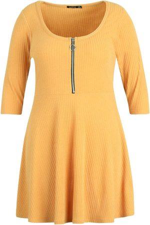 Boohoo Plus Soft Rib Zip Front Skater Dress