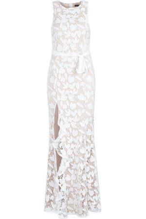 Boohoo Lace Ruffle Split Maxi Dress