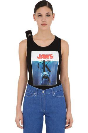 Calvin Klein Printed Cotton Jersey Ribbed Tank Top