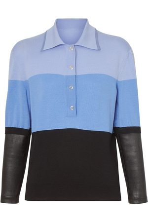 Burberry Long-sleeve leather detail polo shirt