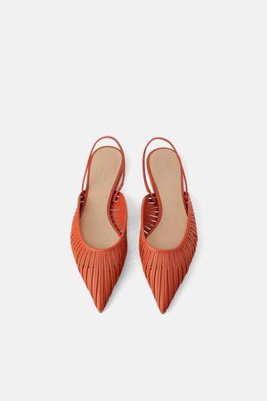 Zara Dame Loafers - Flat sko med åpen hæl og remmer
