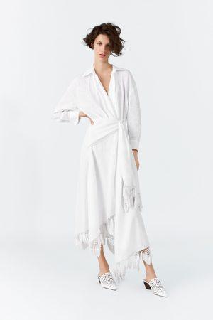 Zara Omslagskjole i lin med frynser