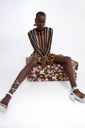 Zara Dame Strikkede kjoler - Stripet strikket kjole