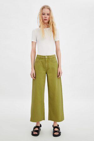 Zara Cropped culottebukse i denim med normalt liv