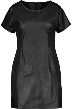 Boohoo Plus PU Cap Sleeve Shift Dress