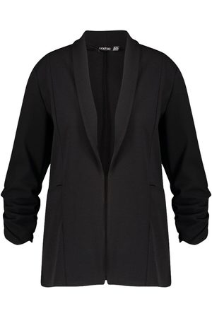 Boohoo Plus Lapel Detail Ruched Sleeve Blazer