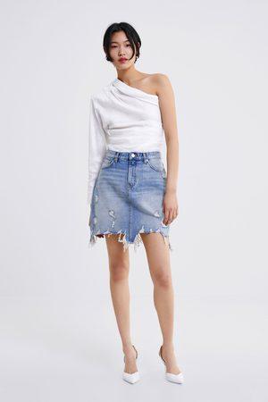 Zara Dame Miniskjørt - Skjørt zw premium mini sunset blue