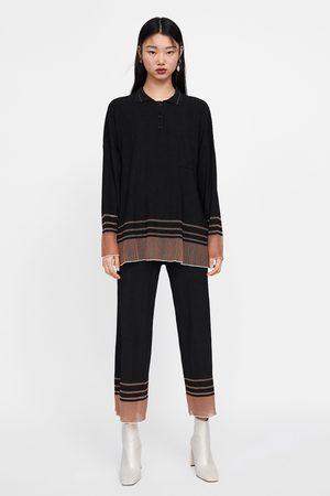 Zara Dame Pique - Oversize polo med striper