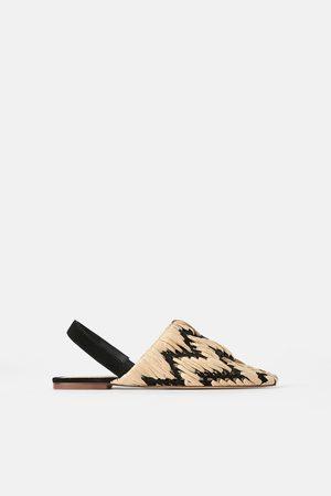Zara Dame Loafers - Flat flettet sko med åpen hæl