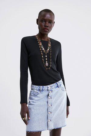 Zara Dame Miniskjørt - Miniskjørt i denim med knapper