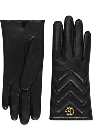 Gucci GG Marmont chevron leather gloves