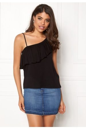 New Look One Shoulder Ruffle Tank Black M (UK12)