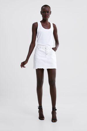 Zara Dame Miniskjørt - Miniskjørt i denim med hull