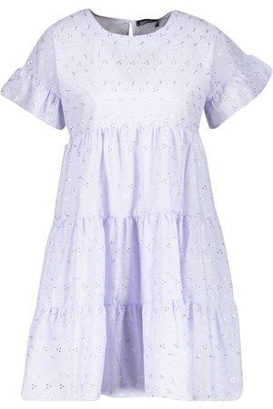 Boohoo Broderie Anglais Smock Dress