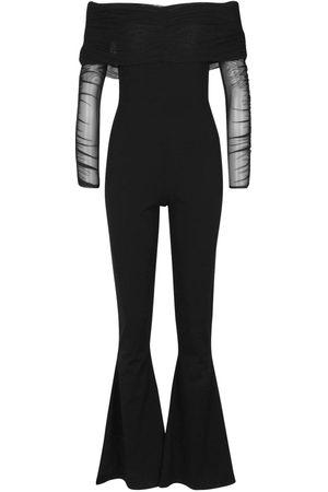Boohoo Mesh Bardot Ruched Jumpsuit
