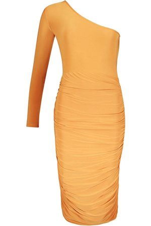 Boohoo One Shoulder Double Layer Slinky Midi Dress